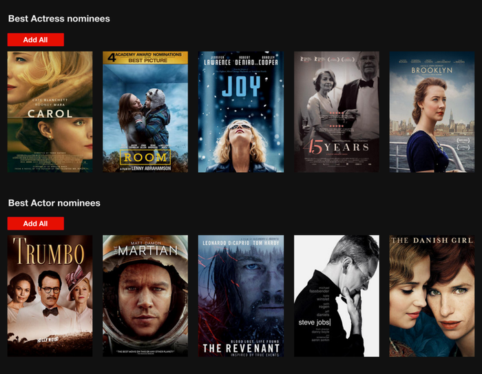 Netflix's Add All DVD option during the Academy Awards a couple of years ago.