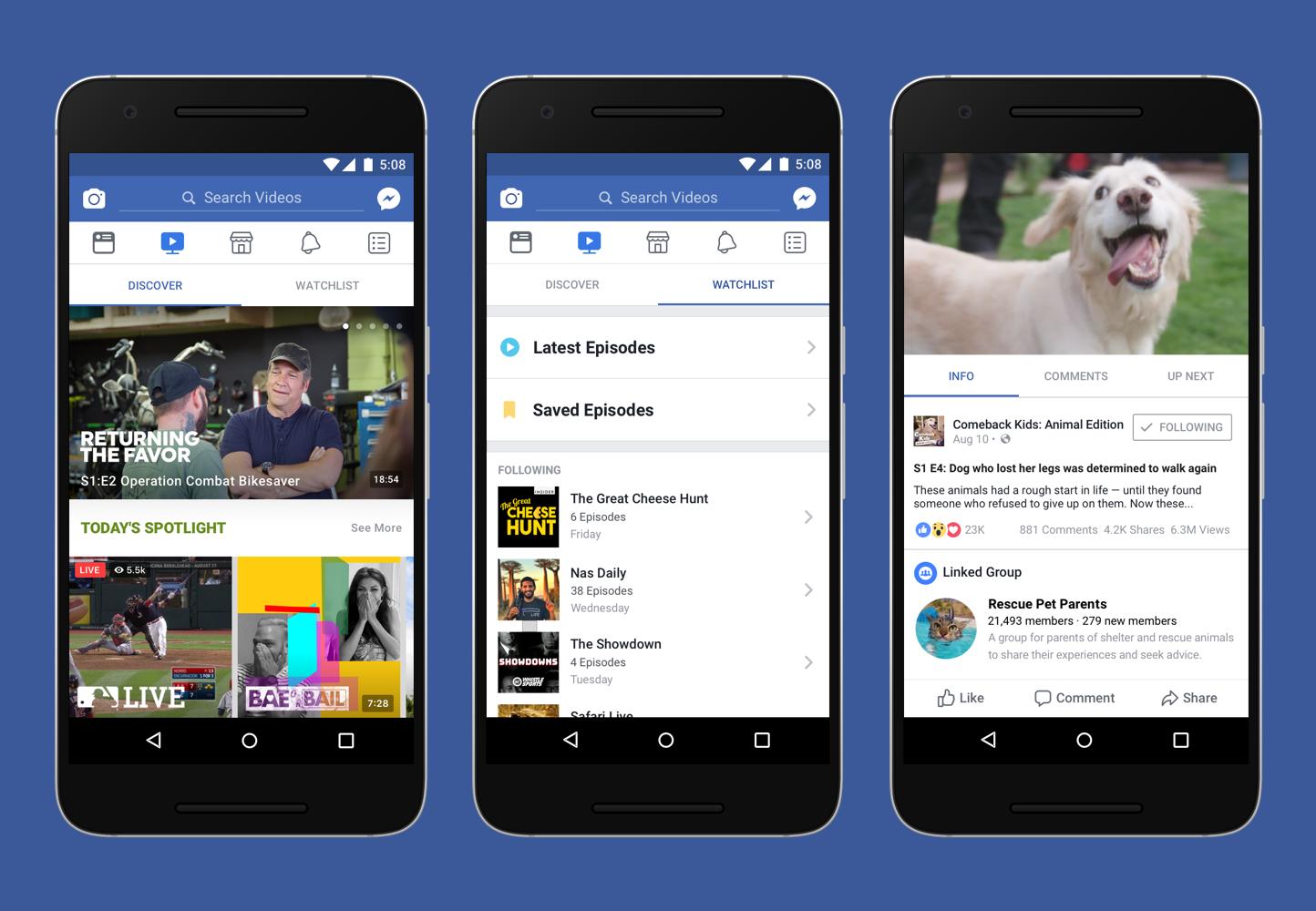 3 screenshots of Facebook Watch on smartphones.