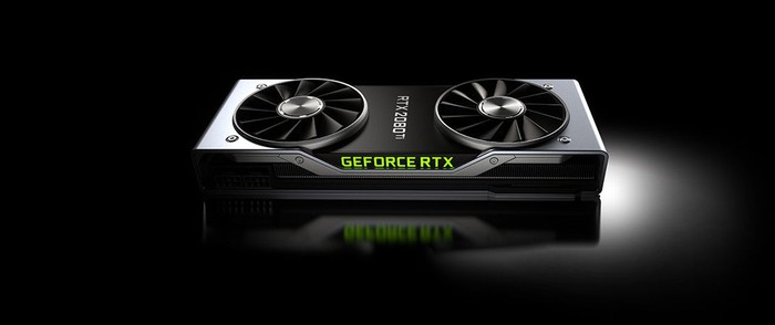 A new NVIDIA Geforce RTX GPU with ray tracing capability. The card is black and has two fans on top to keep the unit cool.