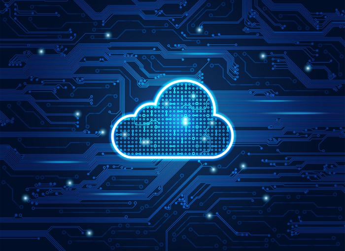A digital-looking cloud