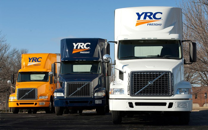 Three YRC trucks in a row