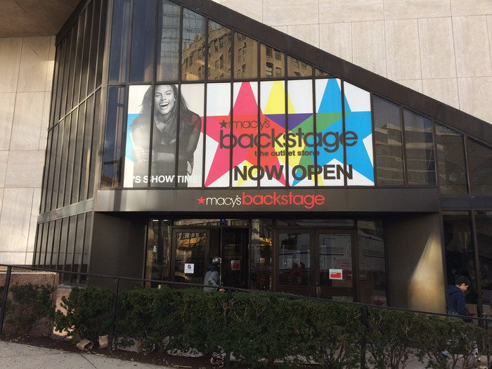 An exterior entrance to a Macy's Backstage department
