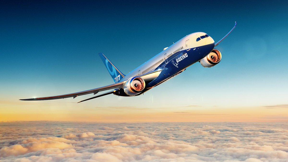 A Boeing 787 airplane