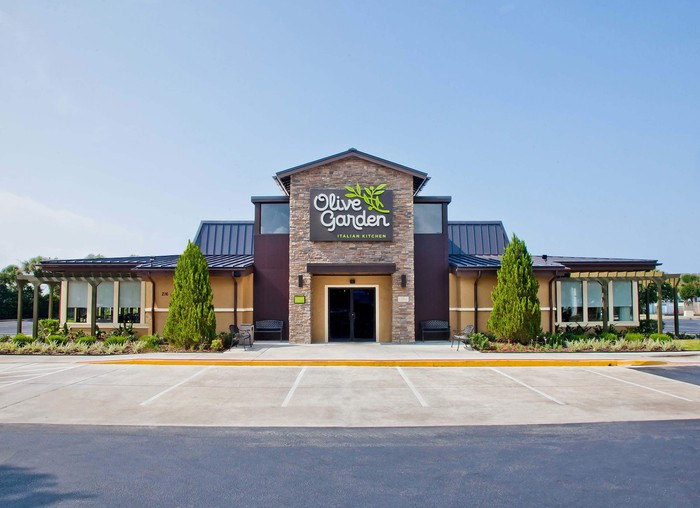 Exterior of an Olive Garden with an empty parking lot.