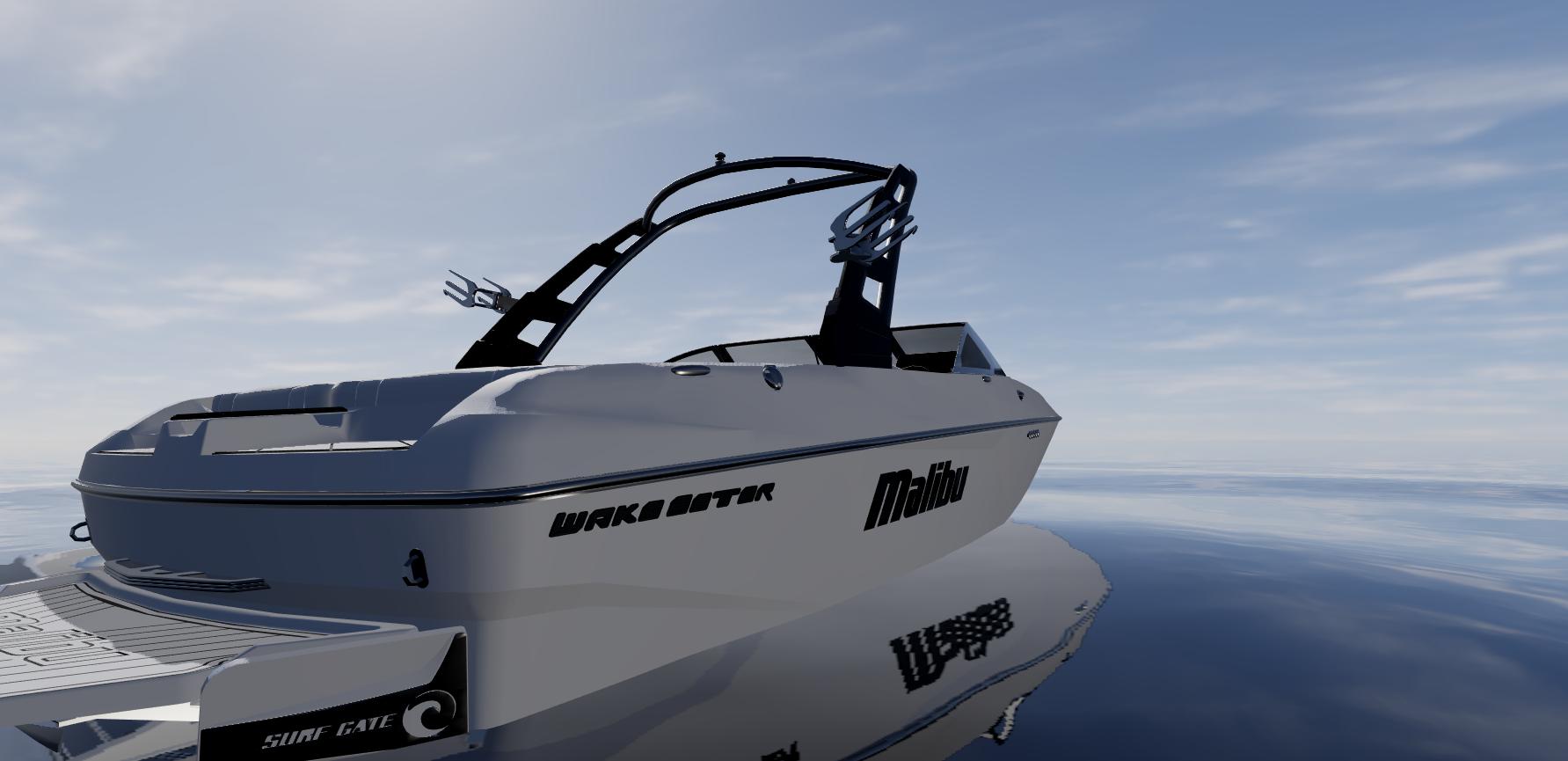 Malibu Wakesetter speedboat in the water