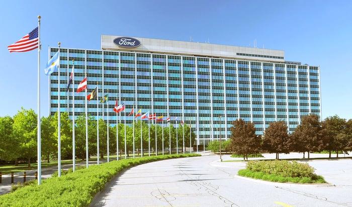 The Ford headquarters building in Dearborn, Michigan