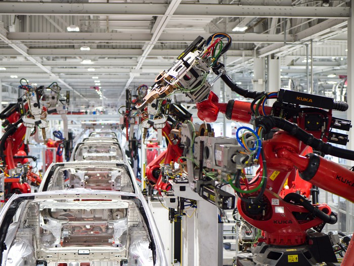 Tesla vehicle production in the company's factory in Fremont, CA