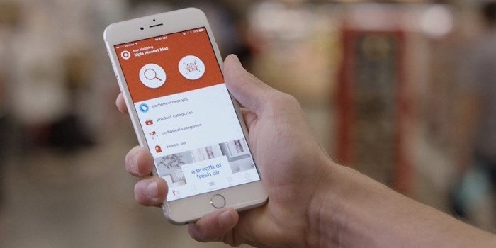 A person holding a phone with the Target app loaded.
