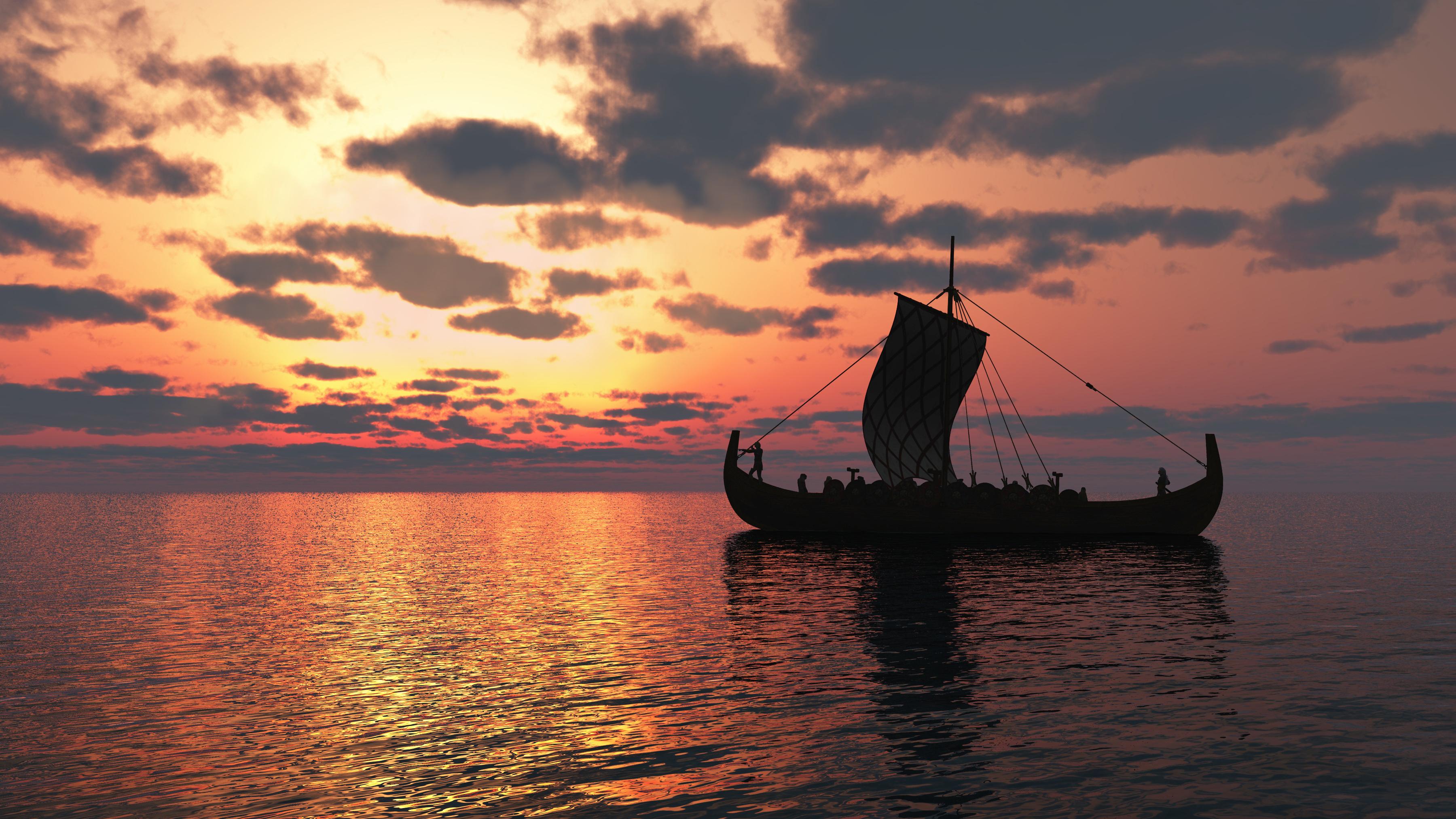 Viking longship sailing on a calm sea at sunset.