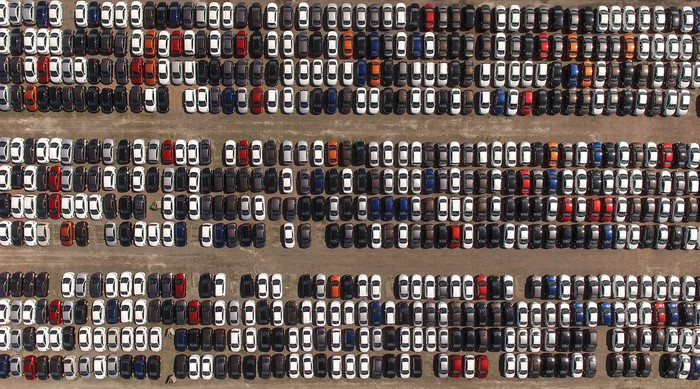 Full car lot viewed from above