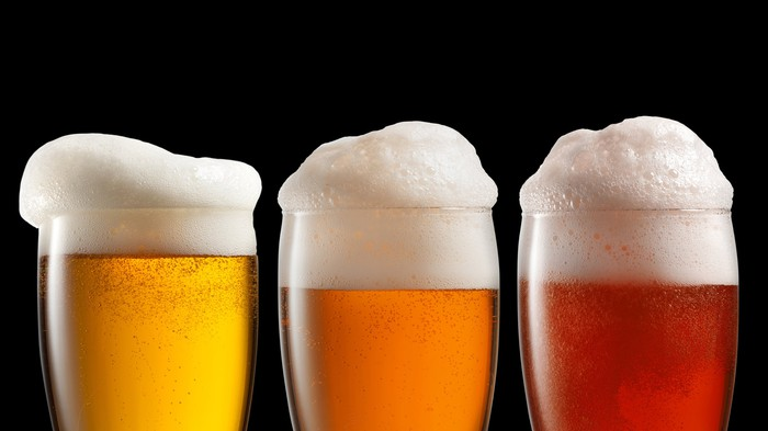 Three different types of beer in glasses