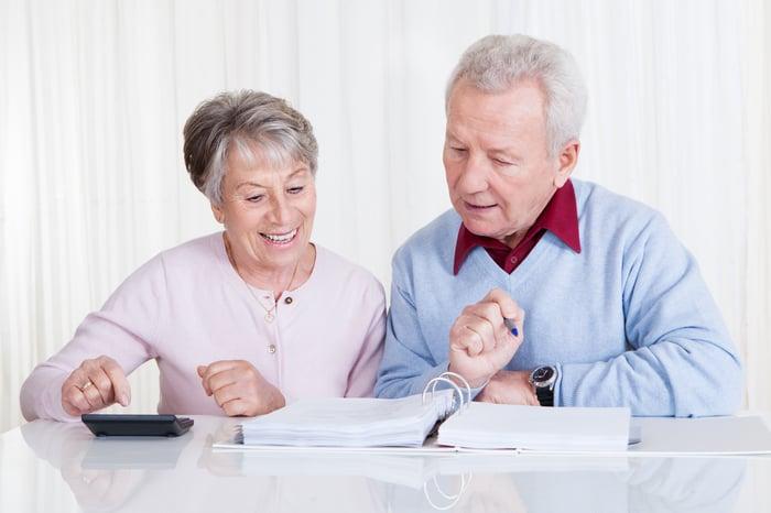 A happy senior couple examining their finances.