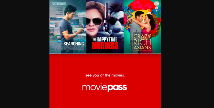 MoviePass promo with some of this month's new releases.