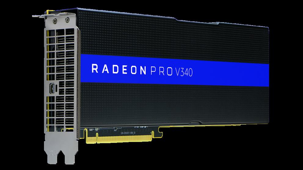 The Radeon Pro V340 graphics card.