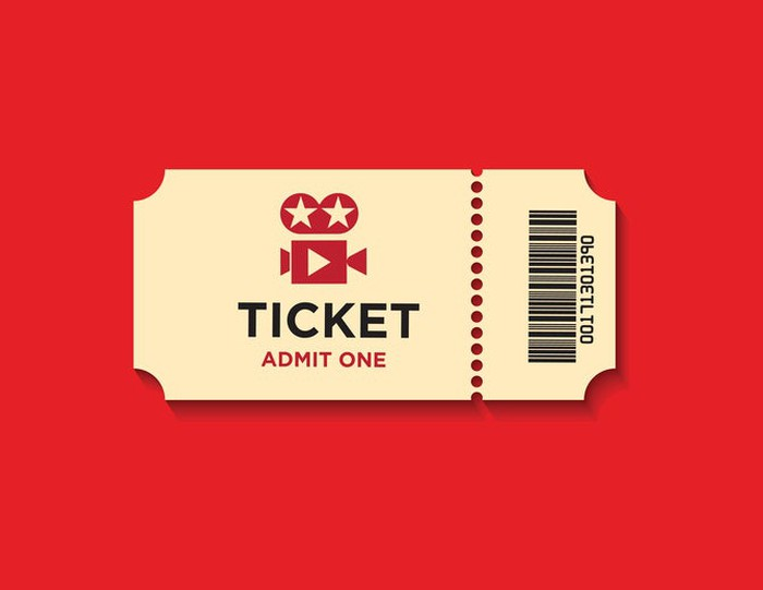 Movie ticket on red background.
