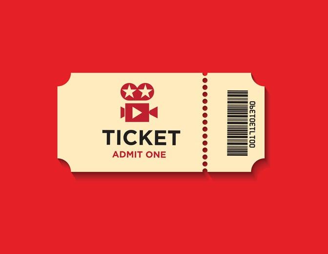 Movie ticket on red background.