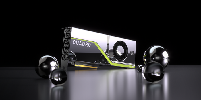 NVIDIA's Quadro RTX 8000 on a table against a black background.