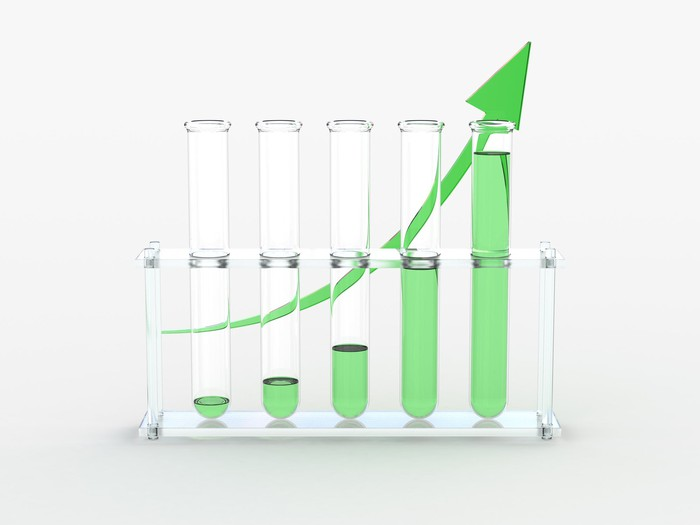 Test tubes with increasing levels of green liquid in front of a green arrow swooping upward