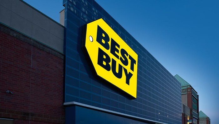 A Best Buy logo at the top of a store.