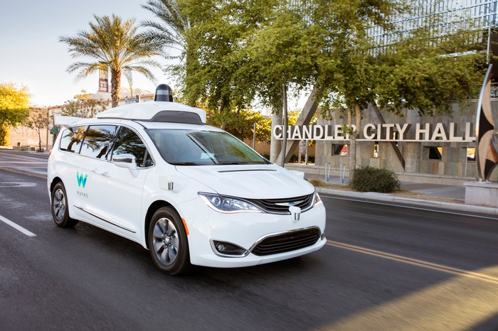 A white Chrysler Pacifica Hybrid with Waymo logos and visible self-driving sensor hardware is shown on a street in Chandler, Arizona.