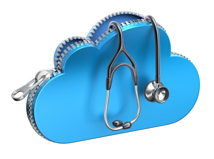A cloud icon image being unzipped with a stethoscope hanging out.