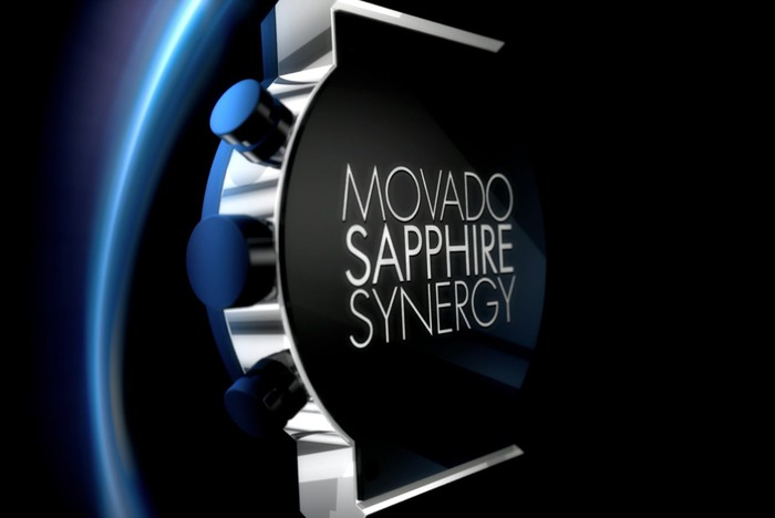 Back of silver-tone watch with blue outline, labelled Movado Sapphire Synergy.