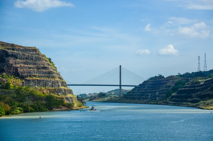 The last stretch of the Panama Canal heading to the Pacific Ocean.