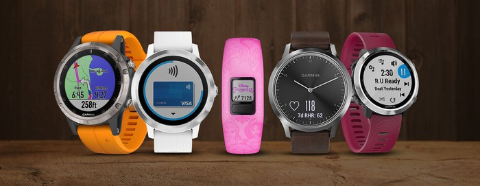 Several Garmin wearables.