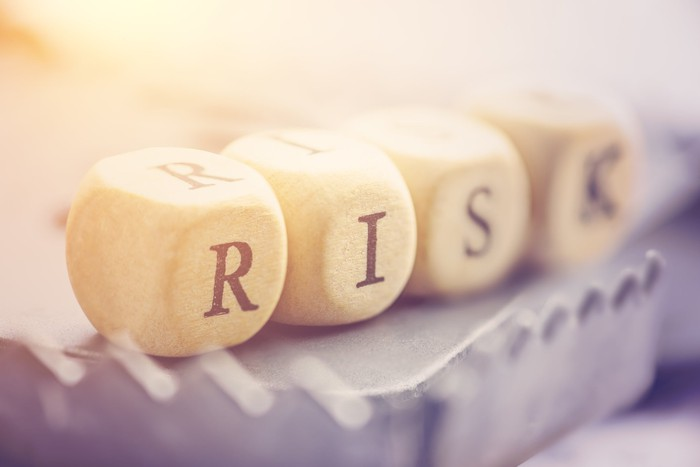 "The word ""risk"" spelled out using dice."