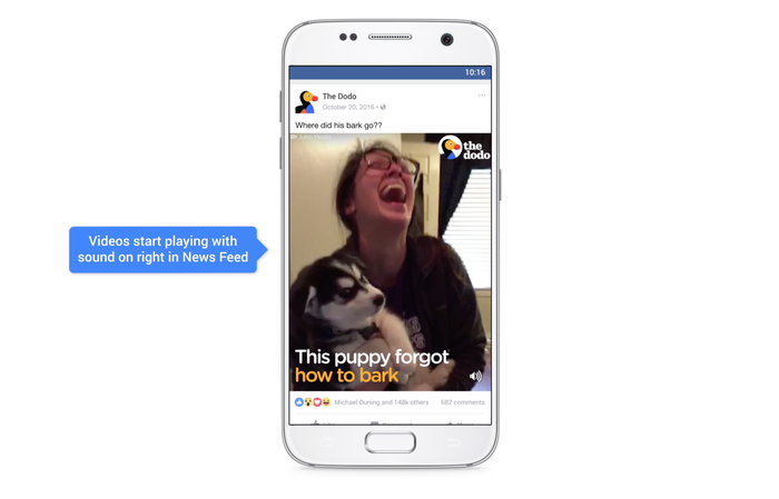 Facebook video content on mobile phone