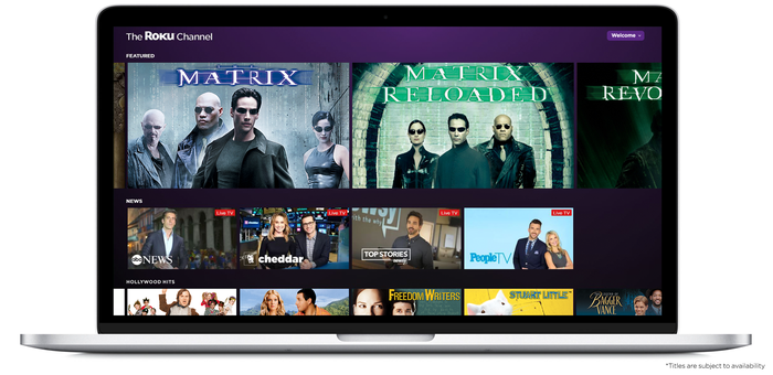The Roku Channel shown on a laptop, showing various programming choices.