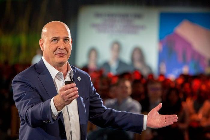 Salesforce co-CEO Keith Block giving keynote address at TrailheaDX 2018.