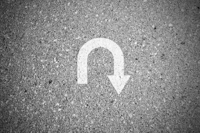 U-turn painted on the ground