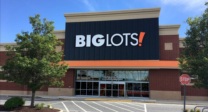 View of Big Lots retail store from outside, with no traffic and partial view of parking lot.