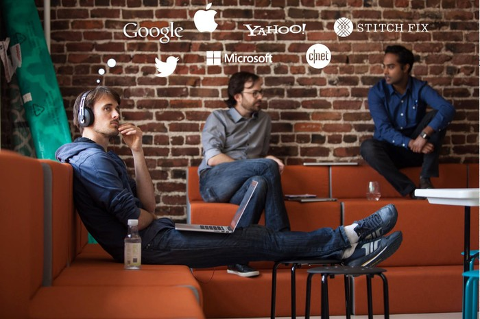 Three men have logo-based thought balloons coming out of their heads, with one pondering Stitch Fix while the others are thinking of Google, Microsoft, Yahoo, Twitter, and CNET.