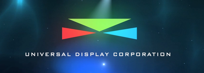 Universal Display Corporation logo with red, green, and blue triangles