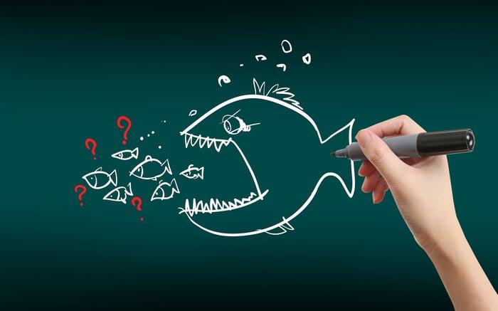 A drawing of a big fish eating many smaller fish.