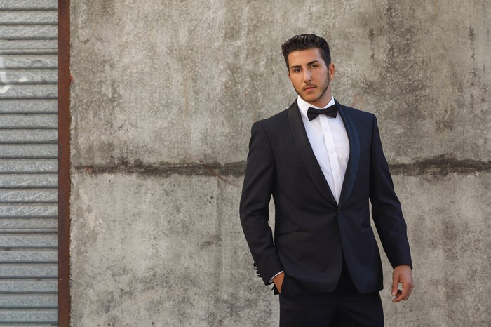 A man wearing a tuxedo.