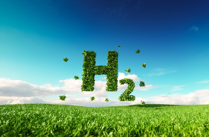 The symbol for hydrogen gas (H2), composed of leaves, floating over a green field
