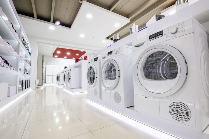 Row of washers in an appliance store