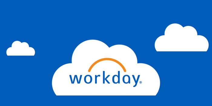 Workday logo on simple clouds with a blue background