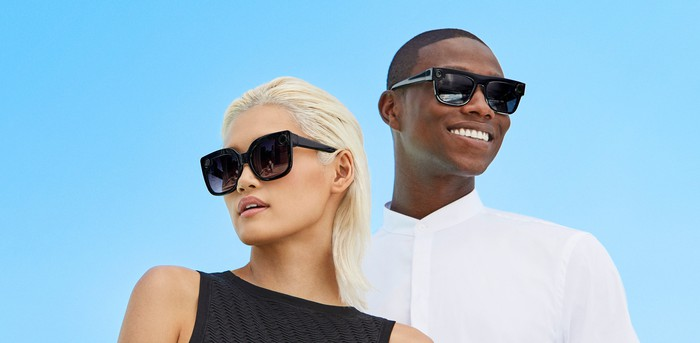 Two people wearing the new styles of Snap Spectacles