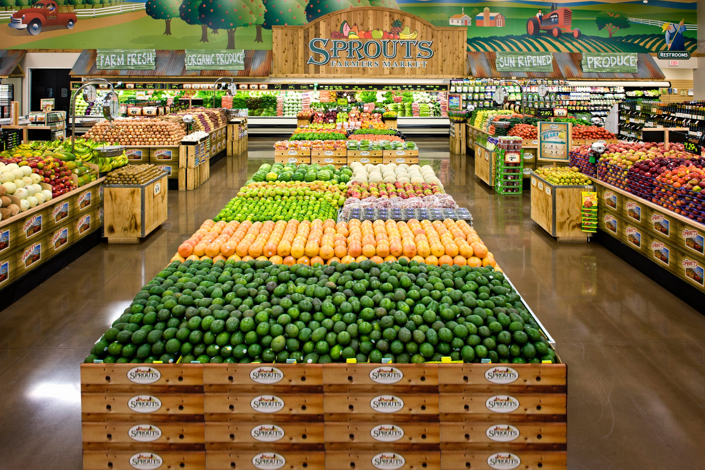 Neatly arranged produce at a Sprouts Farmers Market store