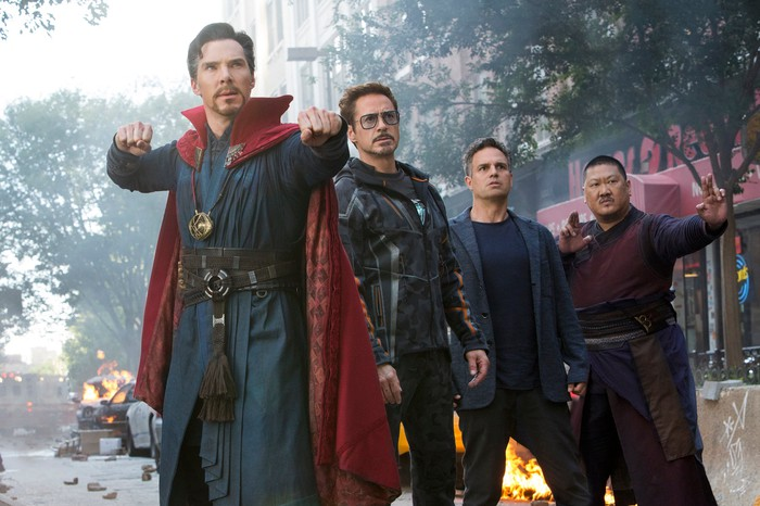 A scene from Avengers: Infinity War showing Dr. Strange, Tony Stark, Bruce Banner, and Wong.