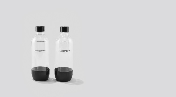 Two SodaStream bottles.