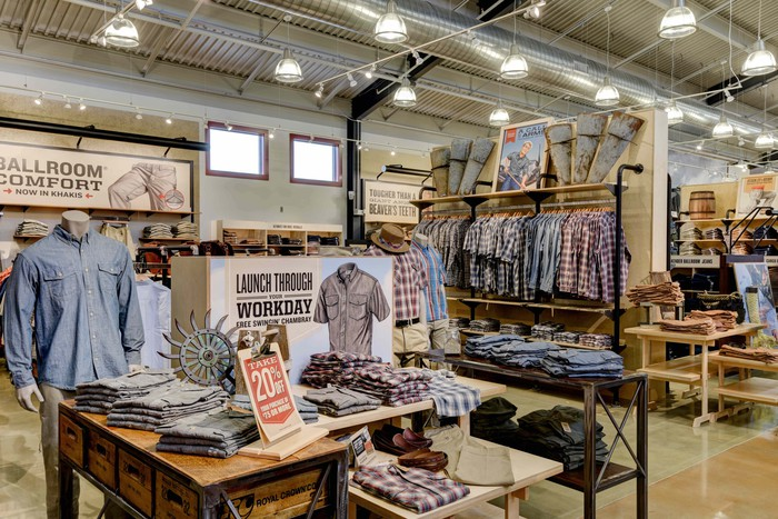Menswear showcased inside a Duluth store.
