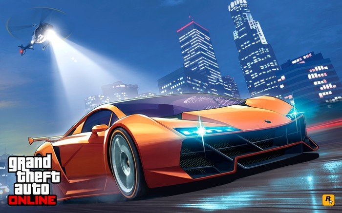 Grand Theft Auto game art depicting a high speed chase with a police helicopter hovering over a sports car on a highway.