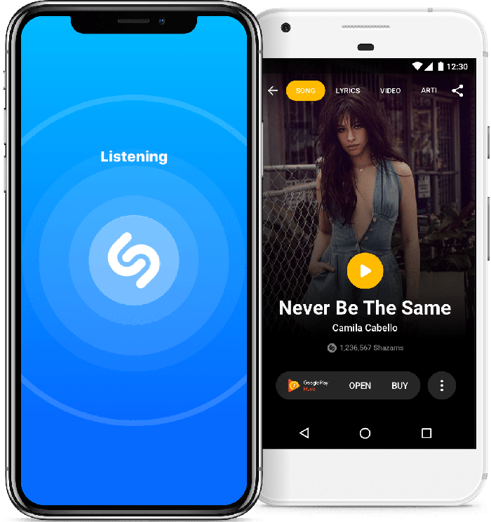 Shazam interface shown on two iPhones