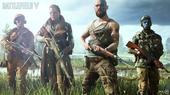 Four characters from EA's Battlefield V.