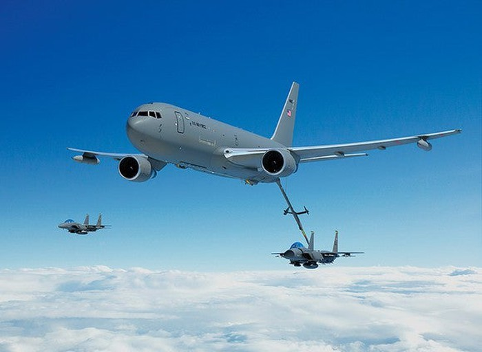 A rendering of a Boeing KC-46 refueling another jet
